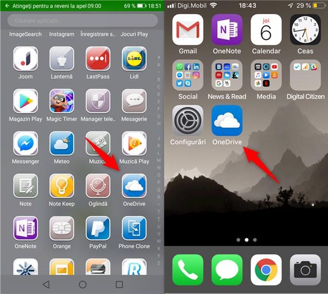 Deschiderea aplicației OneDrive în Android și iOS