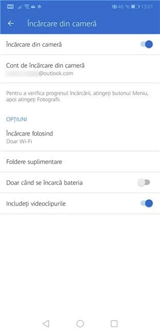 Configurarea OneDrive în Android pentru a încărca automat toate fotografiile