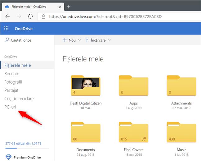 Linkul PC-uri din OneDrive