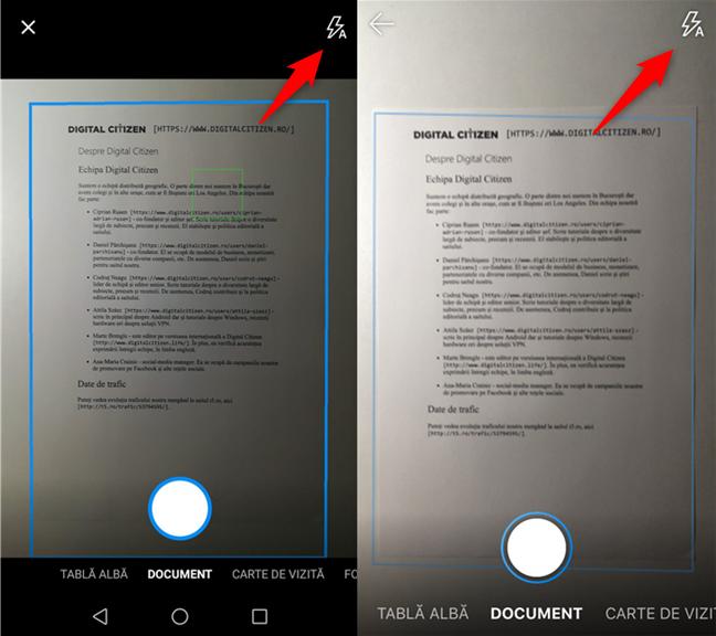 Setarea modului bliț pentru camera OneDrive