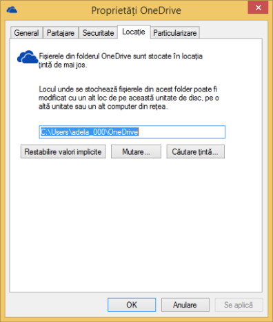 OneDrive, Windows 8.1, folder, locatie, schimbare