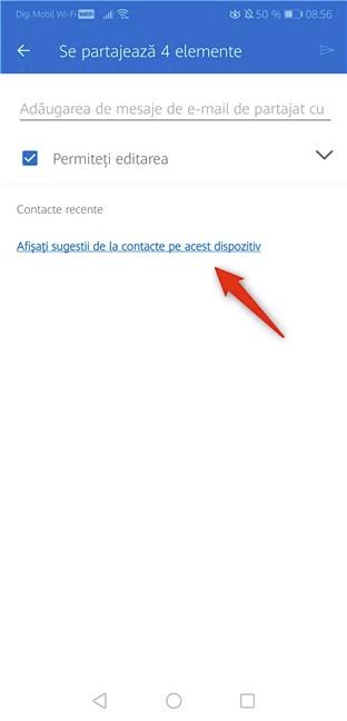 Afișați sugestii de la contacte pe acest dispozitiv