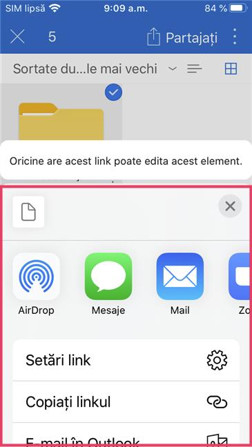 Acțiuni disponibile în OneDrive pentru iOS