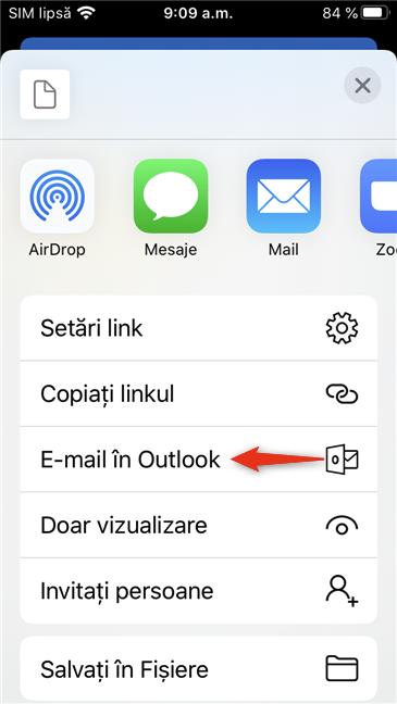 E-mail în Outlook