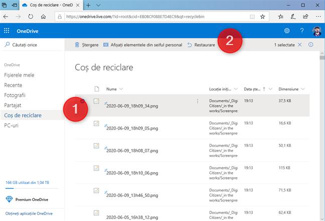 Restaurează fișierele șterse din saitul OneDrive