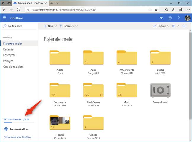 Site-ul web OneDrive îți spune cât spațiu ai în total și cât ai folosit din el