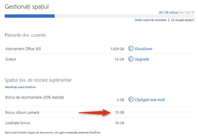 Microsoft obișnuia să ofere un Bonus Album cameră cu spațiu gratuit în OneDrive