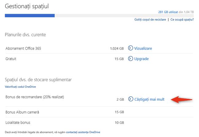 Bonus de recomandare îți poate aduce încă 10 GO de spațiu OneDrive gratuit