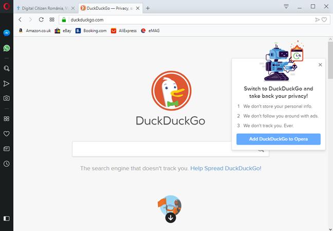 Adaugă DuckDuckGo la Opera