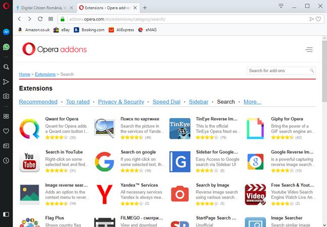 Motoarele de căutare disponibile drept extensii pentru Opera