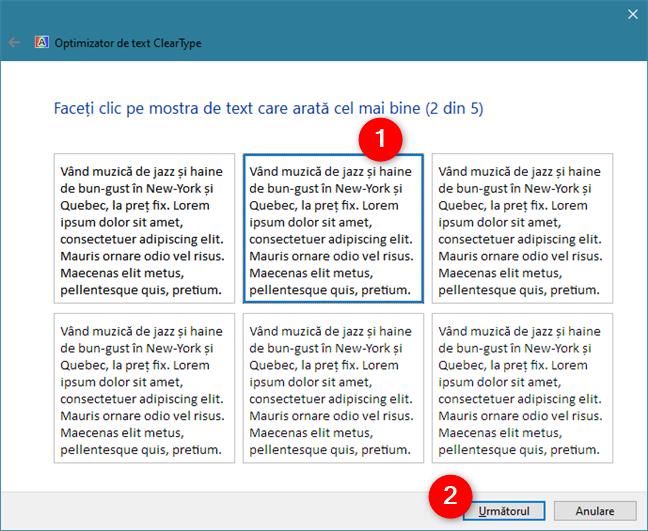 ClearType Text Tuner arată cinci seturi de eșantioane de text
