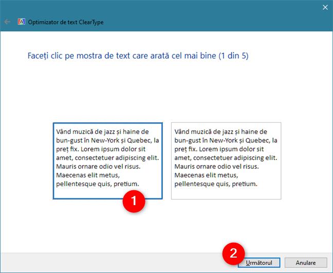 ClearType Text Tuner îți cere să alegi textul care ți se pare cel mai ușor de citit