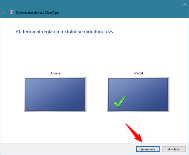 Optimizatorul de text ClearType a terminat ajustarea monitorului