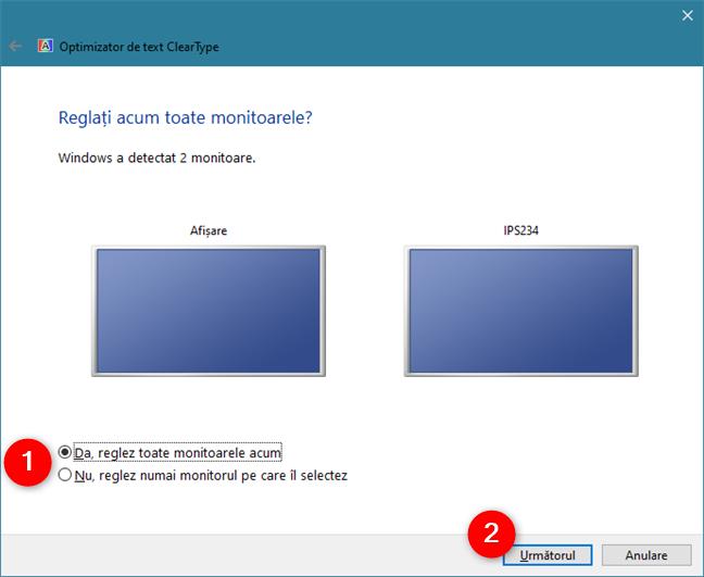 ClearType Text Tuner identifică monitoarele conectate la PC