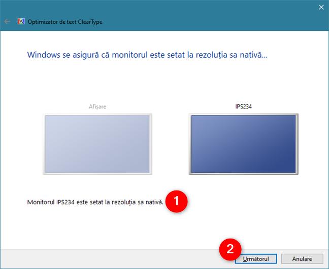 ClearType Text Tuner verifică dacă monitorul utilizează rezoluția sa nativă