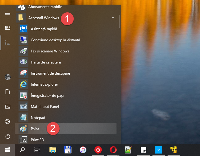 Scurtătura Paint din Meniul Start al Windows 10