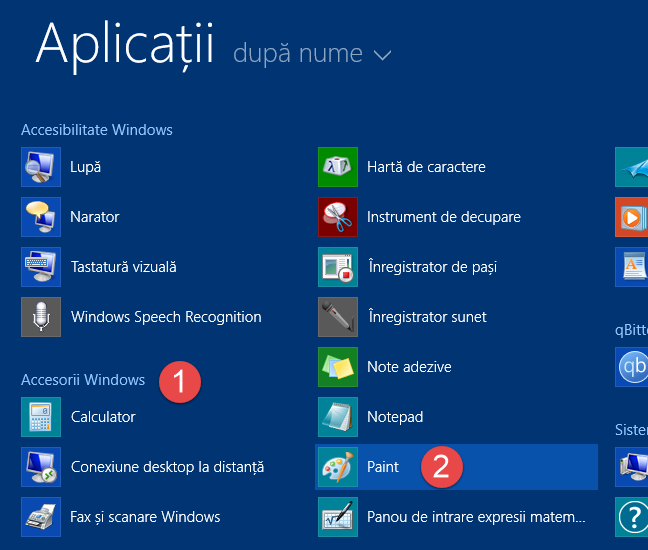 Scurtătura Paint de pe ecranul Start din Windows 8.1