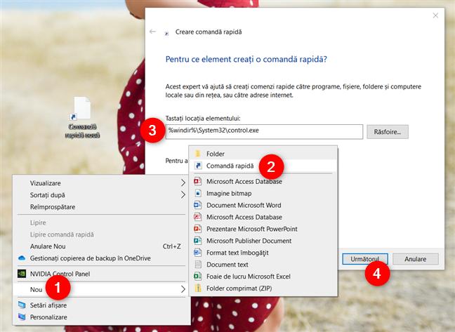 Cum creezi manual o scurtătură pentru Panou de control în Windows 10