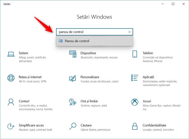 Cum se deschide Panoul de control în Windows 10 folosind căutarea din Setări