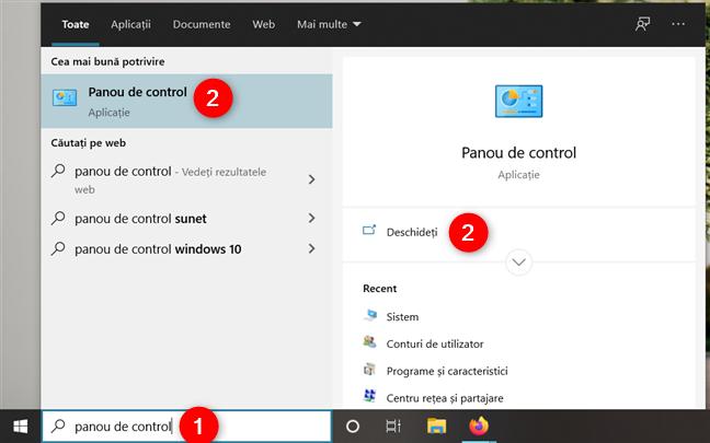 Cum deschizi Panoul de control în Windows 10 folosind căutarea