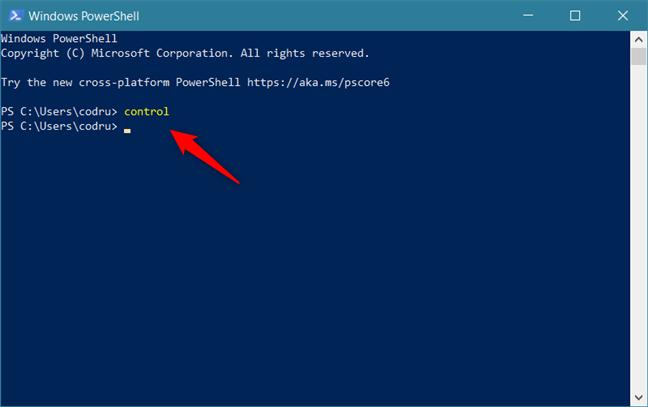 Utilizarea PowerShell pentru a deschide Panoul de control ăn Windows 10
