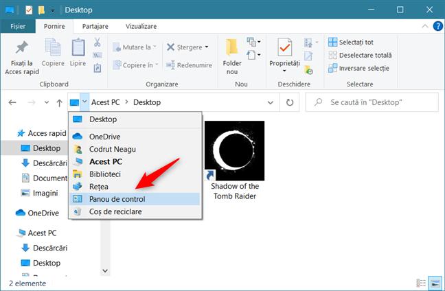 Deschiderea Panoului de control din (File) Explorer
