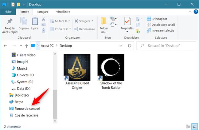 Panoul de control se găsește în zona de navigare din (File) Explorer