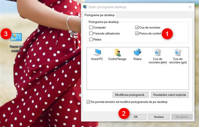 Adăugarea scurtăturii Panoul de control folosind Setări pictograme pentru desktop