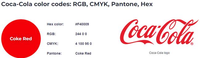Codurile de culoare ale Coca Cola