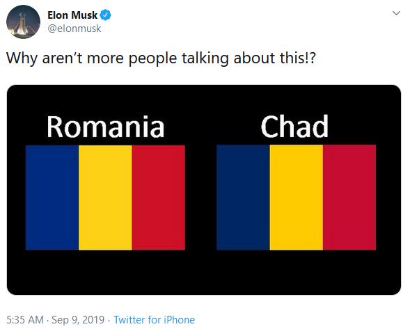 Tweet-ul lui Elon Musk despre steagurile României și ale Ciadului