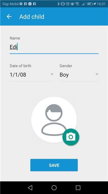 Crearea unui profil pentru un copil