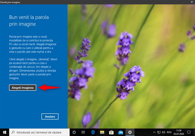 Alegerea imaginii pentru autentificarea în Windows 10