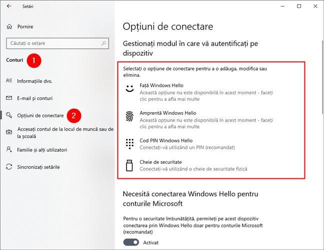 Opțiuni de conectare în Setările din Windows 10