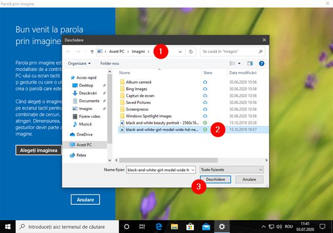 Răsfoirea prin PC și selectarea imaginii de utilizat pentru parola prin imagine din Windows 10