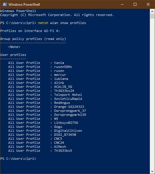 Lista rețelelor WiFi păstrate de Windows 10, afișată în PowerShell