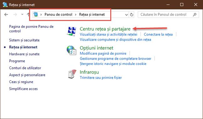 Legătura pentru Centru Rețea și Partajare din Windows 10