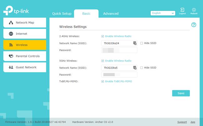 Detaliile rețelei wireless pe un router TP-Link