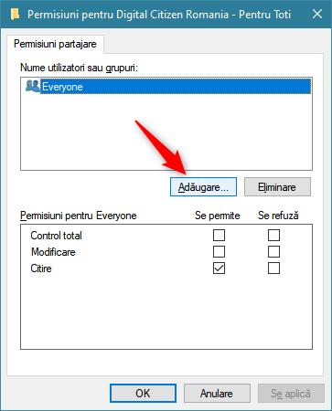 Adăugarea unui utilizator sau grup nou