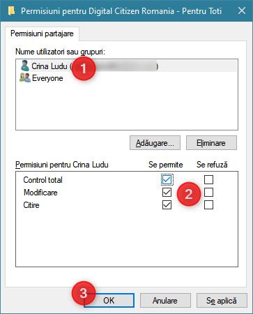Selectarea permisiunilor oferite unui utilizator la folderul partajat