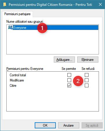 Utilizatorii și grupurile cu care este partajat un folder, precum și Permisiunile lor