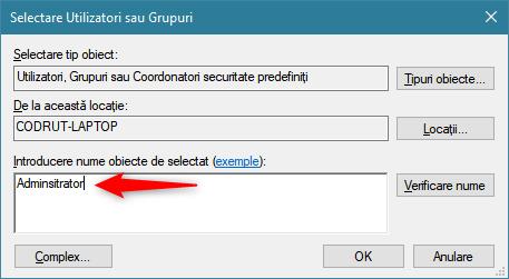 Introducerea utilizatorului sau grupului care primește acces la folderul partajat