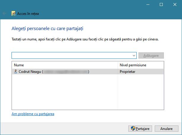 Expertul de partajare din Windows