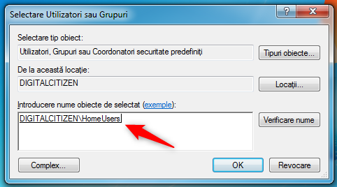 Partajarea unui folder cu grupul de domiciliu în Windows 7