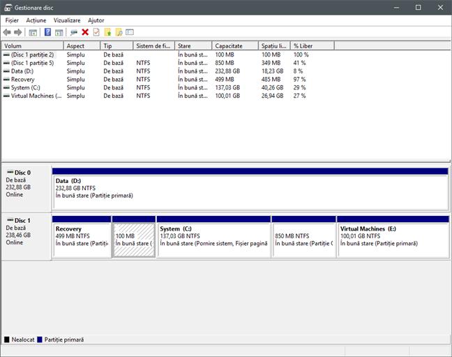 Mai multe partiții afișate în Disk Management