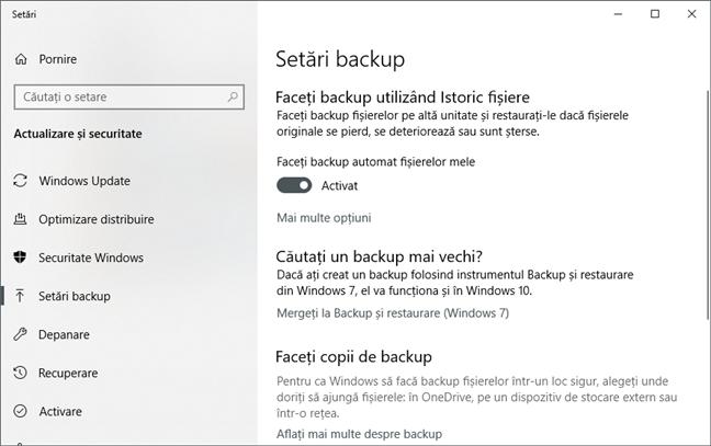 Opțiuni de backup în Windows 10