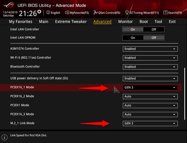Configurarea interfeței PCI Express de pe ASUS ROG Crosshair VIII Hero (Wi-Fi)