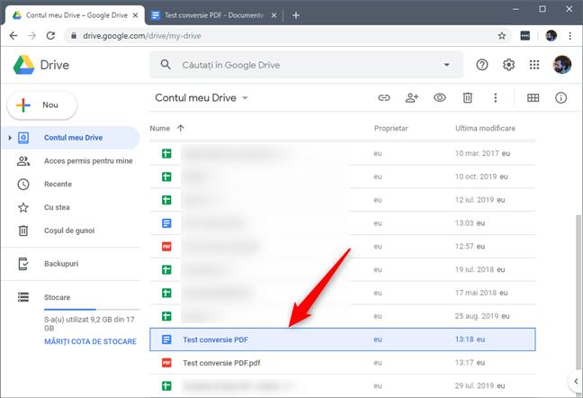 Copia editabilă a fișierului PDF din Google Drive
