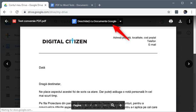 Opțiunea Deschideți cu Documente Google