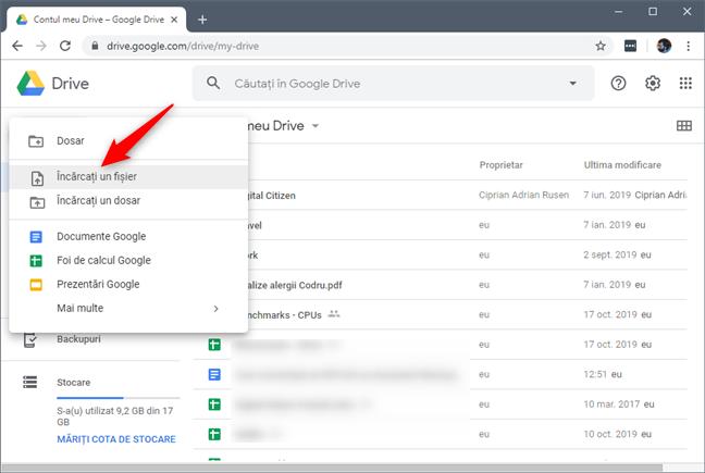 Opțiunea Încărcați un fișier din meniul Nou din Google Drive