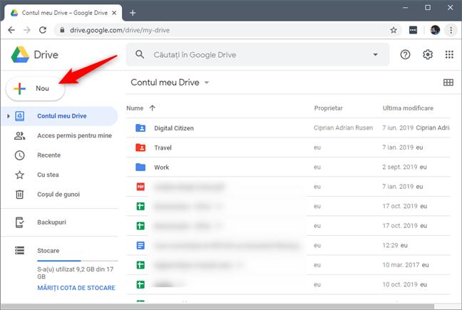 Butonul Nou din Google Drive